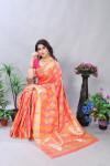 Peach color soft banarasi silk saree with golden zari work