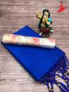 Royal blue color plain soft silk saree with stick peral work