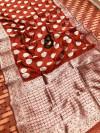 Maroon color Soft banarasi silk saree with silver zari work