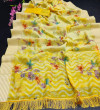 Yellow color soft linen cotton saree with exclusive broomless less