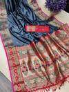 Gray color soft khicha silk weaving saree with meenakari woven pallu