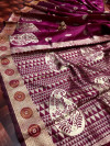 Magenta color soft banarasi silk saree with golden zari weaving  rich pallu