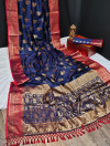 Navy blue color banarasi khicha silk weaving saree with zari work