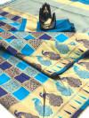 Firoji and blue color soft banarasi silk saree with zari work