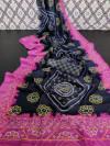 Multi color linen saree with silver zari patta