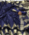 Navy blue color lichi silk saree with golden zari weaving work