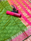 Parrot green color soft cotton saree with weaving border