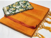 Mustard yellow color plain soft silk saree