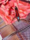 Peach color kanchipuram pure silk handloom saree