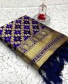 Purple color banarasi weaving silk saree with beautiful tassel