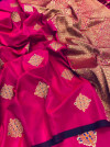 Pink color soft weaving jacquard saree with rich pallu