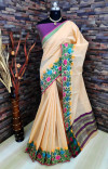 Peach color soft linen silk saree with woven work