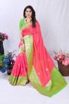 Pink color pure banarasi silk saree with golden zari work