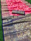 Gajari color lichi soft silk saree with rich pallu