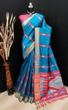 Firoji color bhagalpuri cotton banarasi silk handloom weaving saree