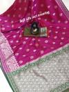 Pink color banarasi silk weaving jacquard saree with rich pallu
