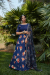 Navy blue color rayon and silk crepe lehenga with printed work