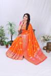 Orange color pure banarasi silk saree with golden zari work