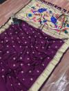Magenta color kanchipuram silk saree with zari weaving attractive pallu