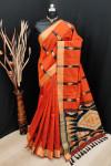 Orange color bhagalpuri cotton banarasi silk handloom weaving saree