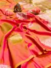 Peach color kanthna silk saree with golden and silver zari work