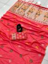 Peach color lichi silk saree with zari weaving rich pallu