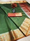 Mehndi green color rich crystal silk saree with weaving border work