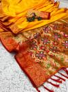 Yellow color soft banarasi silk saree with golden and silver zari work