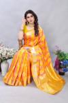 Yellow color soft banarasi silk saree with golden zari work
