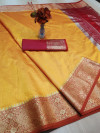 Yellow color rich crystal silk saree with weaving border work