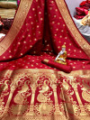 Red color banarasi silk saree with golden zari work