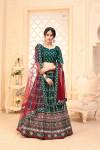 Green color art silk lehenga with digital printed work