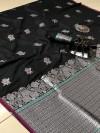 Black color lichi silk silver zari weaving attractive saree