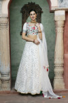 White color net and georgette lehenga with fancy sequince work
