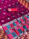 Magenta color lichi silk saree with silver zari weaving work