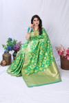 Parrot green color banarasi silk saree with golden zari weaving work