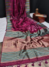 Pink color tussar silk weaving saree with ikkat woven border & zari woven pallu