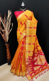 Yellow color bhagalpuri cotton banarasi silk handloom weaving saree