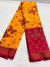 Yellow color soft cotton pochampally ikat saree with Butterflies design