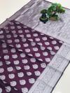 Magenta color soft cotton silk weaving saree with silver zari work