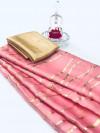 Pink color satin silk saree with floral print