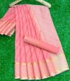 Pink color soft kota doriya saree with leriya print