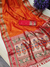 Orange color soft khicha silk weaving saree with meenakari woven pallu