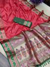 Gajari color soft khicha silk weaving saree with meenakari woven pallu