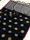 Black color banarasi silk weaving jacquard saree with rich pallu
