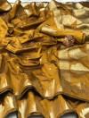Yellow color lichi silk saree with golden zari weaving work