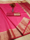 Pink color rich crystal silk saree with weaving border work