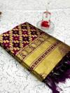 Magenta color banarasi weaving silk saree with beautiful tassel