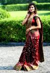 Maroon color hand bandhej bandhani saree with zari weaving border