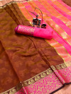 Coffee color soft cotton saree with weaving border